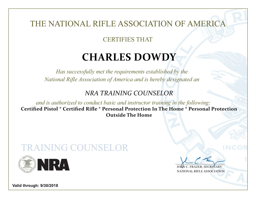 Tom Dowdy Nra Trainign Counselor Certificate Houston Spring Ltc