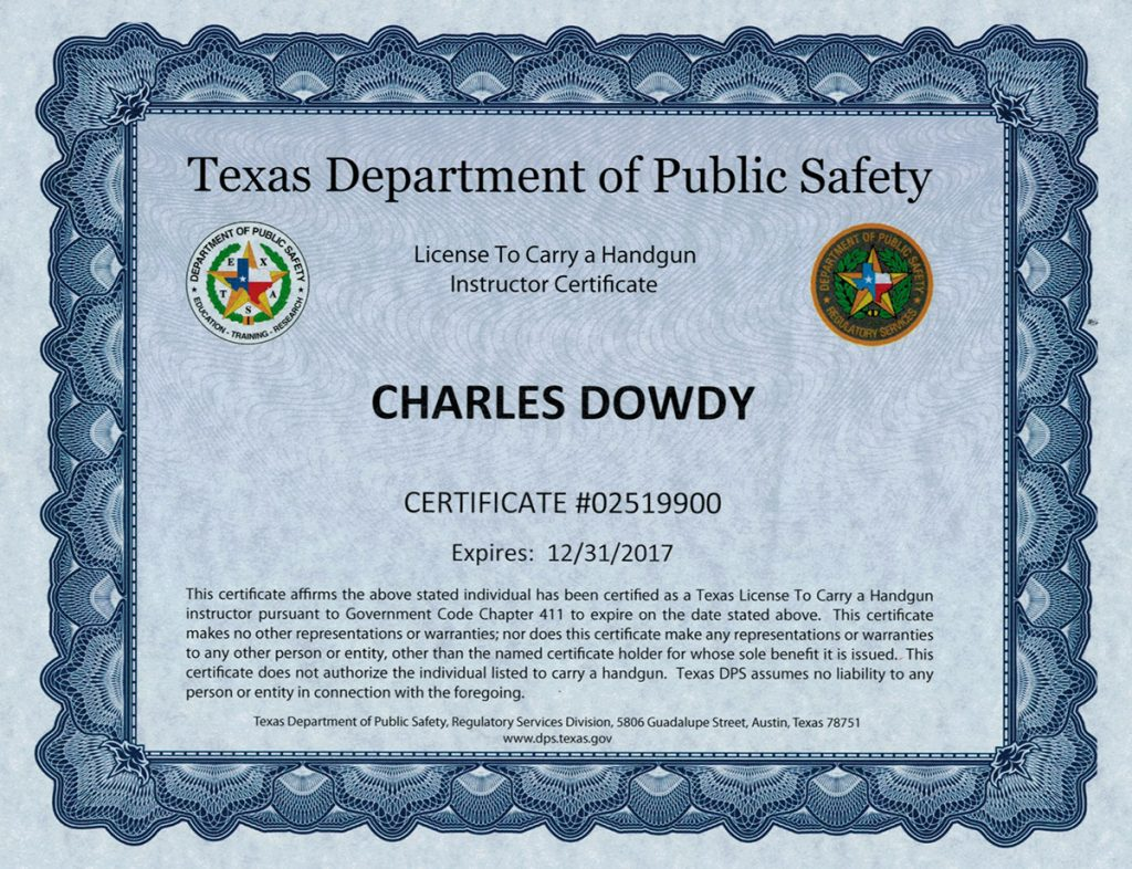 Houston spring ltc courses firearms training classes about tom ltc instructor certificate 1 1betcityfo Images