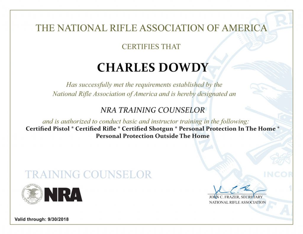 Houston spring ltc courses firearms training classes about tom nra instructor certificate feb 2017 1betcityfo Images
